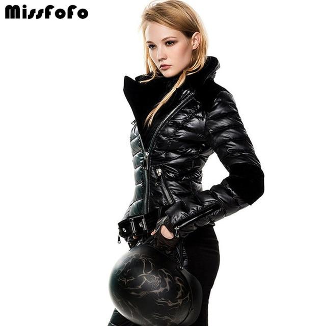 Missfofo женские пуховики CLJ прикольные куртки без штанов Модный черный тонкий бархатный лоскутный пуховик женский короткий дизайн в спортивном стиле