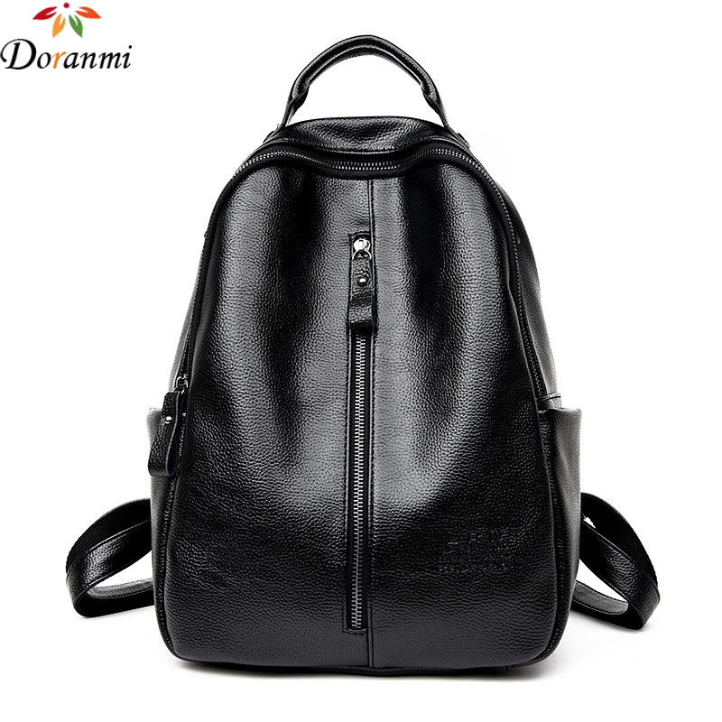 DORANMI High Quality PU Leather Traveling Backpack 2017 New Fashion Brand Multi pockets Casual Zip Up