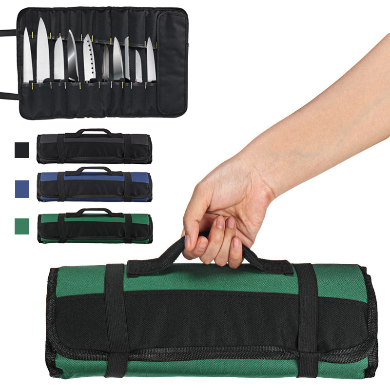 22 Pockets 3 Color Available Chef Knife Bag Roll Bag Portable Cooking Tool Storage Black Blue Green Carry Case Chef Roll Bag