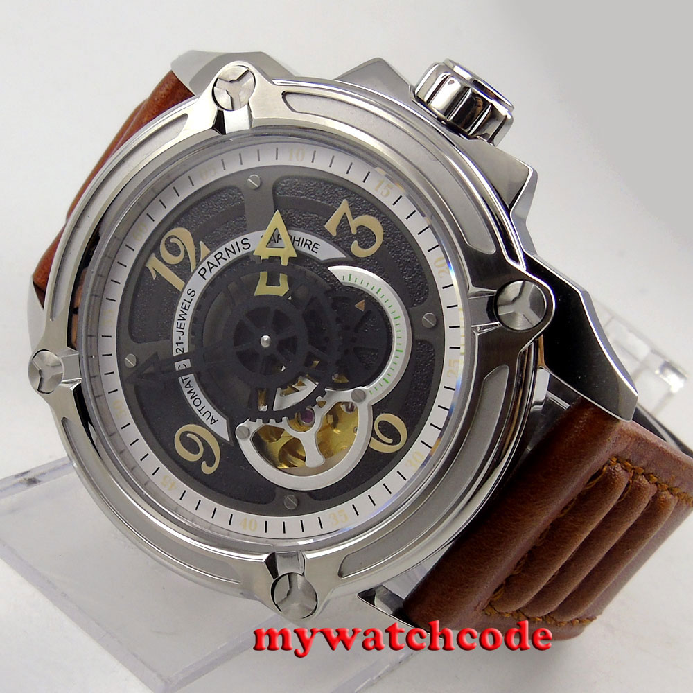44mm Parnis black dial Sapphire 21 jewels miyota automatic mens wrist Watch 661B все цены