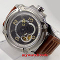 44mm Parnis black dial Sapphire 21 jewels miyota automatic mens wrist Watch 661B