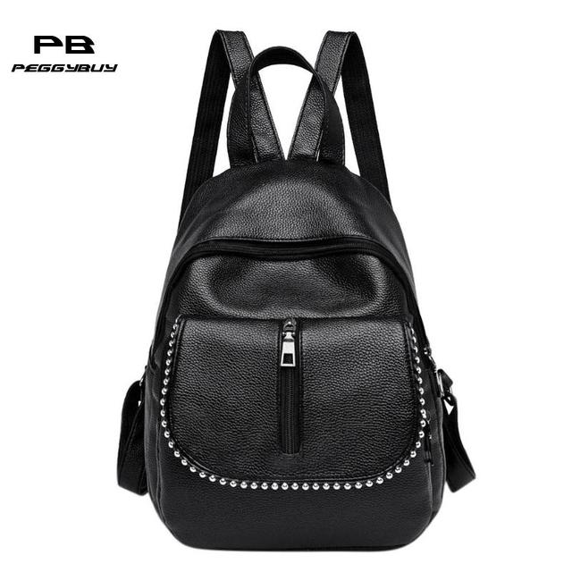 d1acfd79f1 Women PU Leather Backpacks Rivets Black Waterproof Backpack Ladies Travel  Bag Fashion Shoulder School Bags for