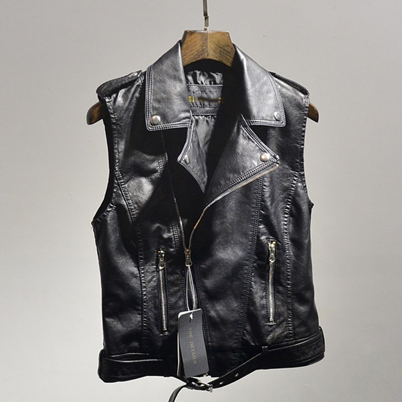 0d394065ca1f0f 2016 Brand New Women Black Pink PU Leather Vests Motorcycle Sleeveless  Leather Jackets Slim Zipper Leather Vest W636