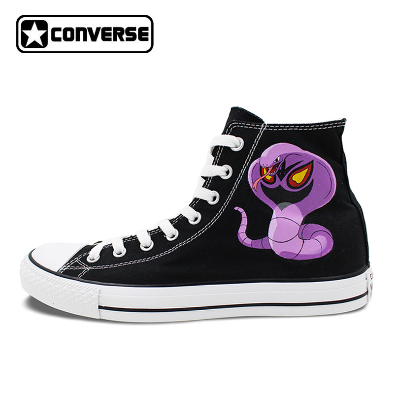 High Top Converse All Star Man Woman Shoes Pokemon Go Arbok Snake Design Hand Painted Shoes Women Men Sneakers Boys Girls Gifts