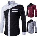 Plus size patchwork camisa dos homens da marca 100% algodão primavera dos homens casuais camisas de vestido de Poliéster de manga comprida camisa camisa masculina