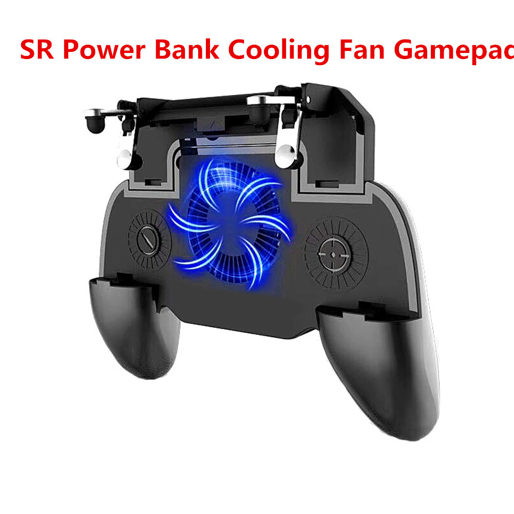 SR 2000mAh Charger Power Bank Heat Dissipation H5 Cooling Fan Gamepad Joystick Hand Grip Fire Aim Key for Mobile Phone PUBG remote control charging helicopter
