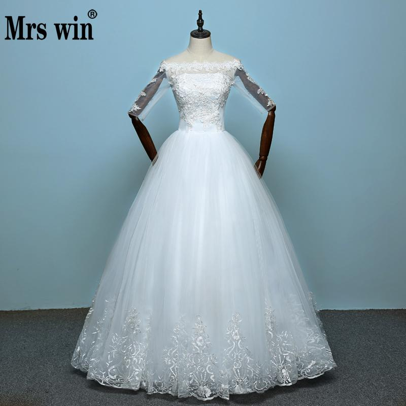 China Vestidos De Noiva 2018 New Arrival Lace Boat Neck Lace Up Ball Gown Princess Wedding Dresses