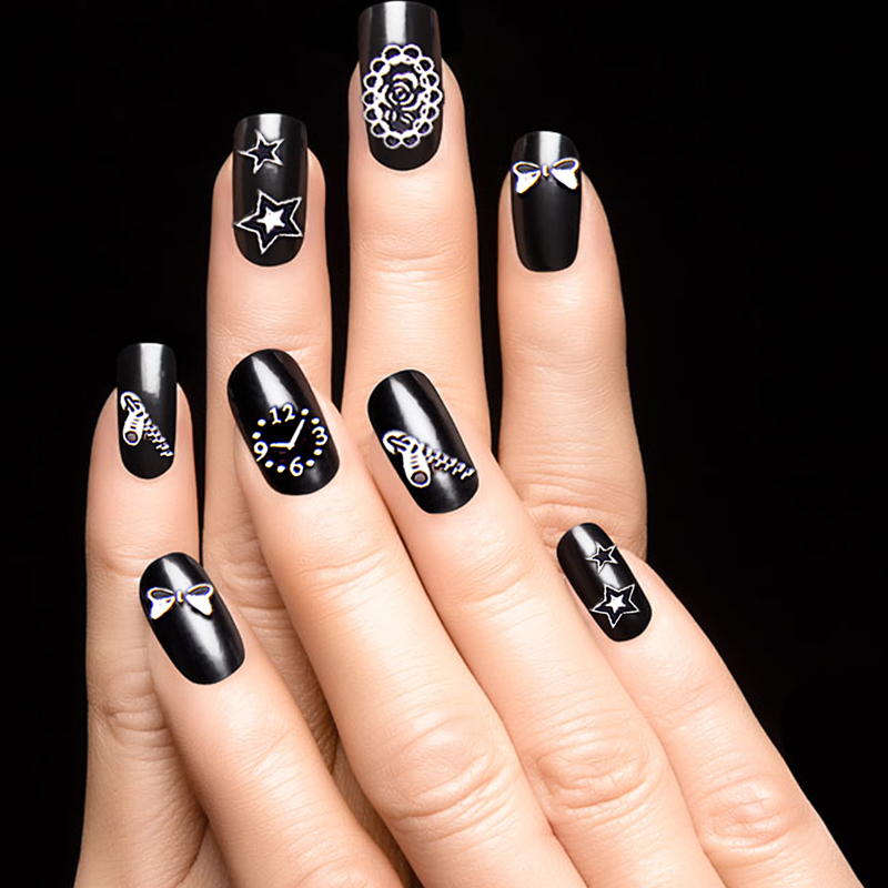 Fashion Nail Art Decorations 30pcs/lot 3D Golden Silver Cartoon Nail ...