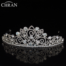 CHRAN Wedding Hair Jewelry Accessories Crystal Headband Tiaras Promotion Brand Costume Jewelry Silver Plated Flower Bridal Crown