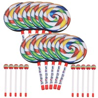 Yibuy 7.9 Lollipop Shape Hand Drum Percussion Musical Instruments Education Toys for Kid with Candy Drumstick Pack of 10