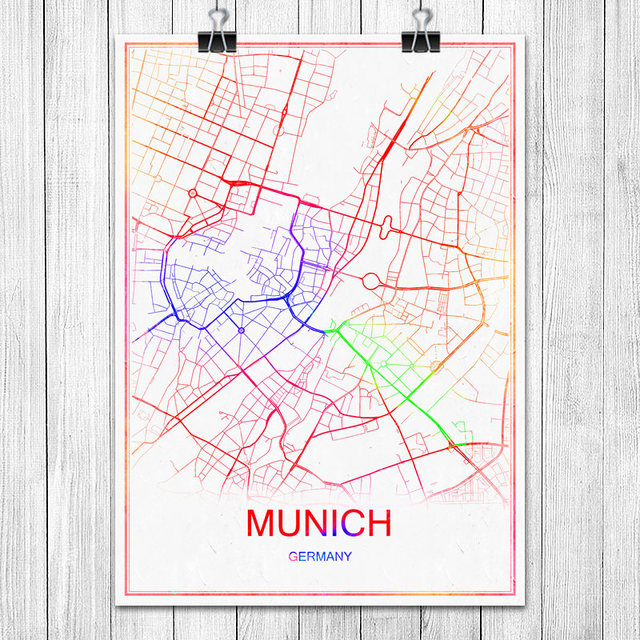 MUNICH Germany Colorful World City Map Print Poster Abstract Coated
