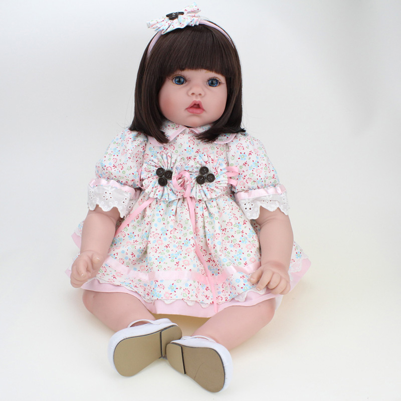 55cm Silicone Vinyl Reborn Dolls Model Toys 22 Lovely Girl Baby Model Newborn Doll Model With the   Floral Dress Clothing Kids sexy purplish blue spaghetti strap dress for women