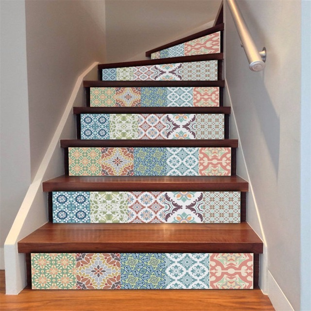 Yanqiao Indian Mexican Style Talavera Mix Pattern Stair Sticker Waterproof  Self Adhesive Removable Home Art Decals