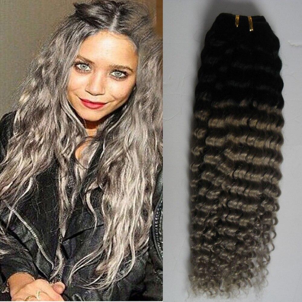 Brazilian Kinky Curly Grey Hair Weave 100g 1bgrey Ombre Brazilian