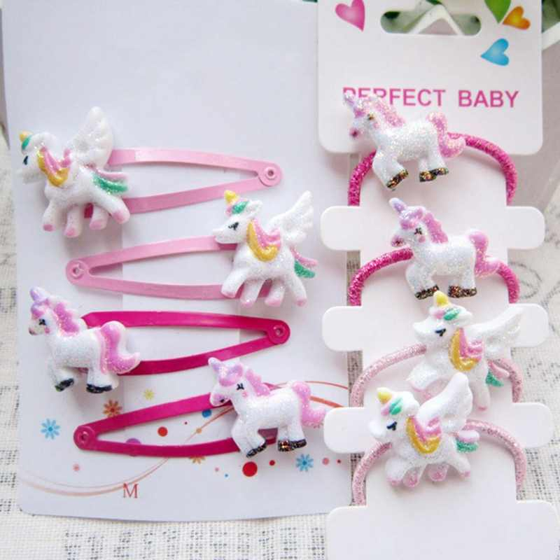 4piece/set Glitter Unicorn Hair Accessories Bobby Pins Hair Clips Elastic Hair Bands Hair Rope Girls Ponytail Holders