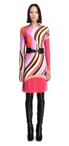 Marcas de lujo stretch Print XXL vestido 2015 otoño mujer manga larga rojo encantador geométrico Spandex firma estirable-in Vestidos from Ropa de mujer    3