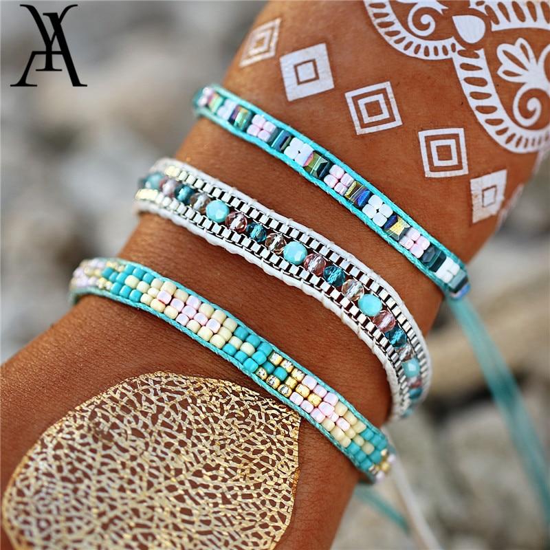Bohemian Handmade Woven Beads Bracelet Fashion Crystal Bransoletki Damskie