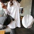 Горячие продажа Беременность Вернуться Молнии С Длинным Материнства Рубашки Случайные Блузки плюс размер Тонкий вскользь Белый Свободные Рубашки Беременность Одежда
