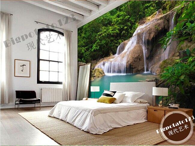Personalizado 3d murais cachoeira bonita na floresta sala de estar tv sofá parede do quarto parede.jpg