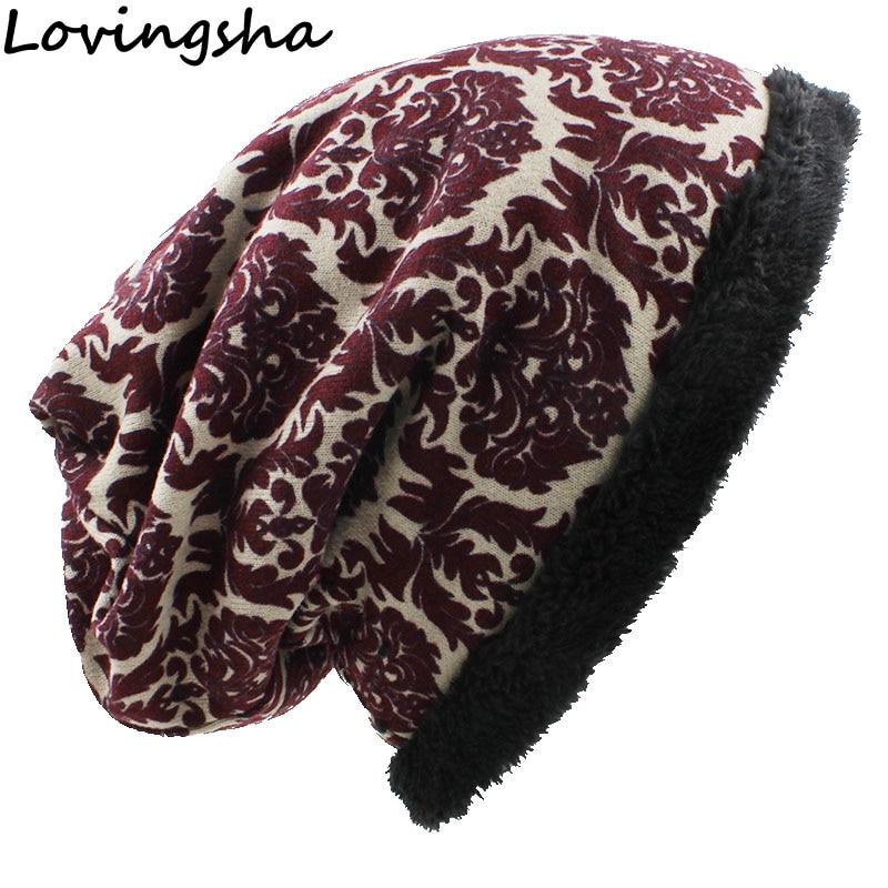 LOVINGSHA Warm Ladies   Skullies     Beanies   Fashion Brand Autumn Winter Vintage Design Multifunction Hats For Women Girl Scarf HT059