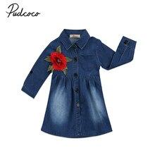 347a4144d6a 2018 милые детские для маленьких Обувь для девочек джинсовые платье с  цветочным принтом для малышей Джинсы
