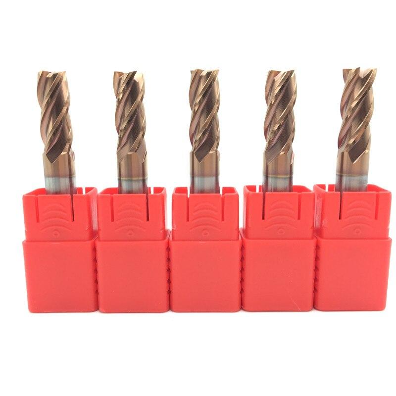 5PCS HRC60 10mm Solid Carbide Endmills D10X25XD10X75L 4Flute ENDMILL Standard Length Side Milling Slotting Profiling Face Mill