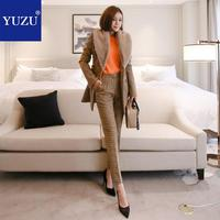 Womens Suits Set 2 Pieces Set Cashmere Blazer And Pants Noble Fur Turn down Collar Double Breasted Office Khaki Plaid Pant Suits