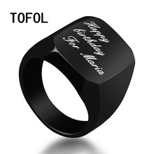 TOFOL Custom Letter Ring Men Personalized Engrave Rings Polished Stainless Steel Man Customed engraved Finger-ring Men's Gifts