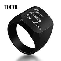 TOFOL Custom Letter Ring Men Engrave Rings Polished Stainless Steel Man Customed Engraved Finger Ring Men