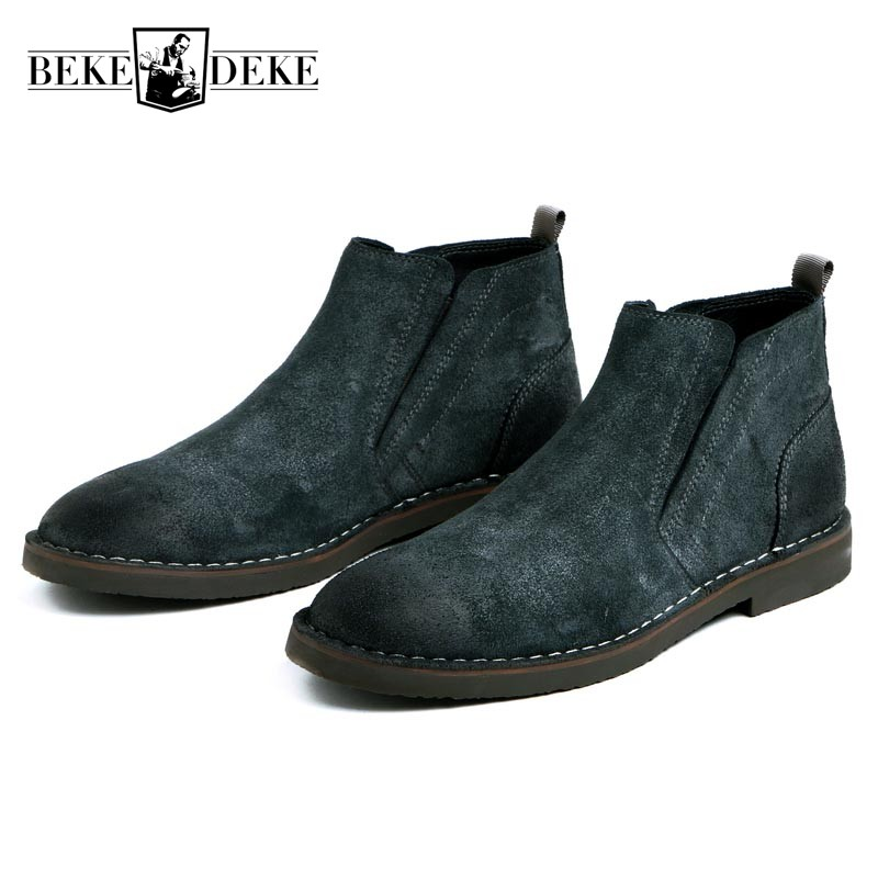 Retro Men Genuine Suede Leather Work Safety Boots Slip On Male Shoes Green Black Winter Flats Large Size Biker Bota Masculina northmarch autumn winter retro men boots comfortable zipper brand casual shoes leather snow boots shoes dark red bota masculina