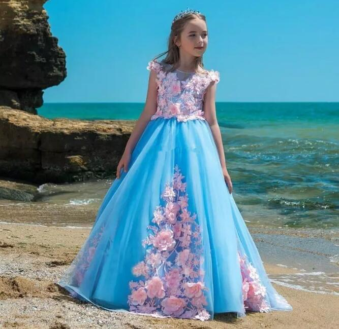 Princess Luxury Ball Gown 3D Appliques Girls Pageant Dresses Children Birthday Wedding Party Dress Teenage Custom Made luxury blue appliques girls pageant dresses ball gown children birthday wedding party dress teenage princess gown custom made
