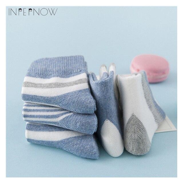 INPEPNOW 5 Pair/lot Baby Boy Striped Socks Soft Cotton Infant Socks Cute Cartoon Pattern Kids Socks Winter For Girl WZ-CZX53 5