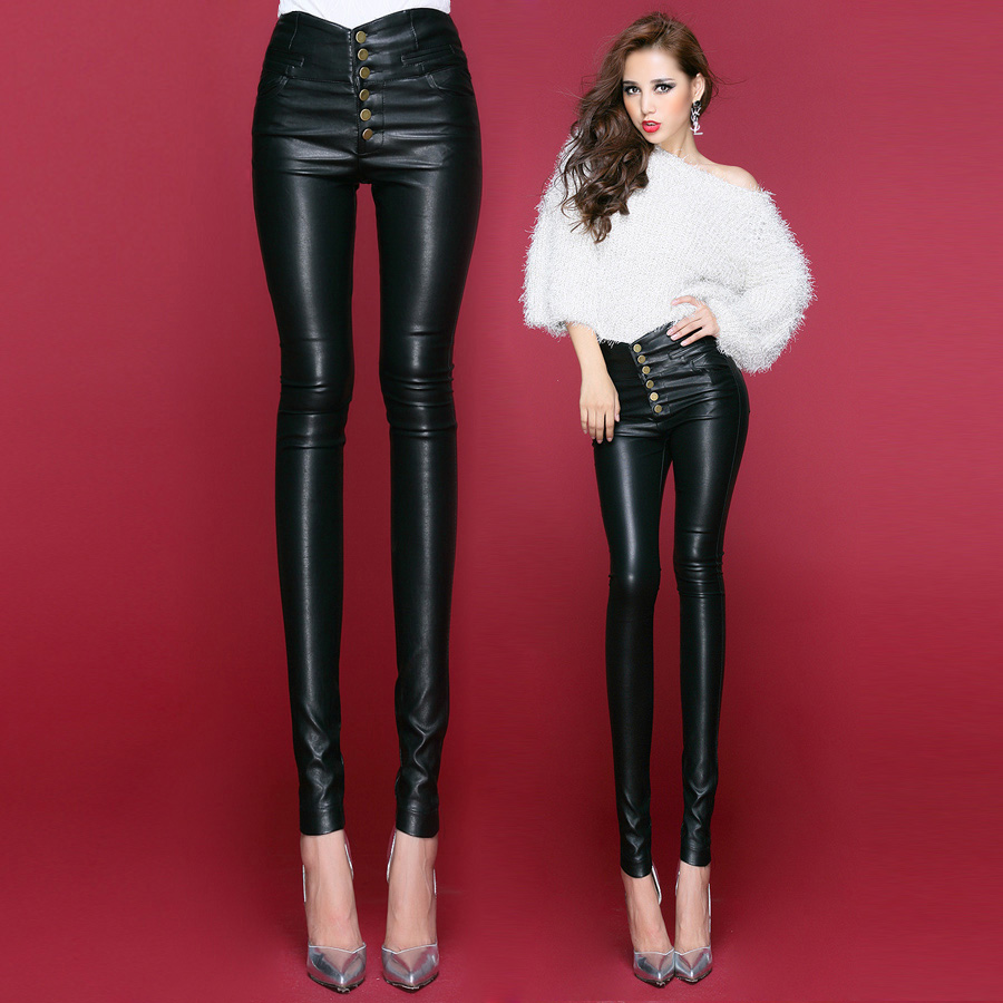 Women Pu Leather Pants 2015 Fashion High Waist Tight -8873