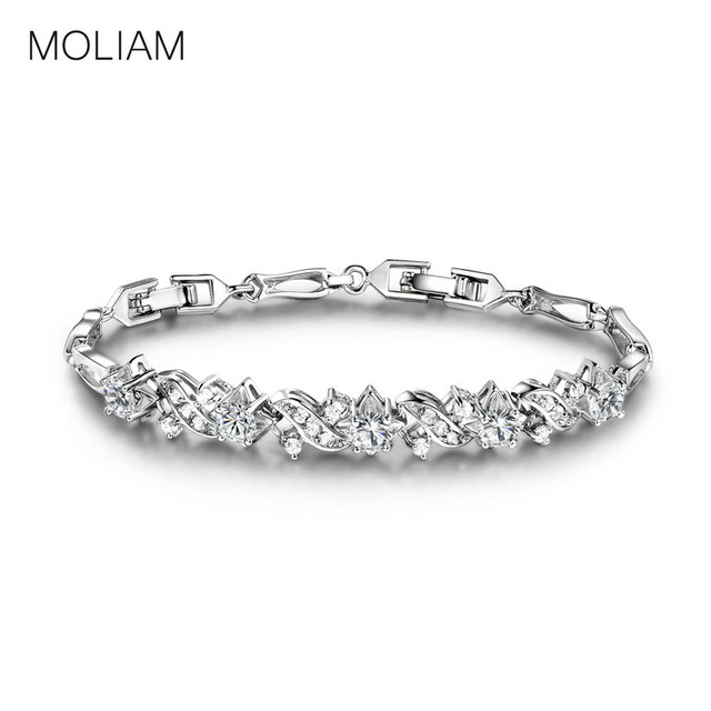 Moliam Antique Wedding Charm Link Chain Bracelets Silver Gold Color Bracelet Women Dazzling Jewelry