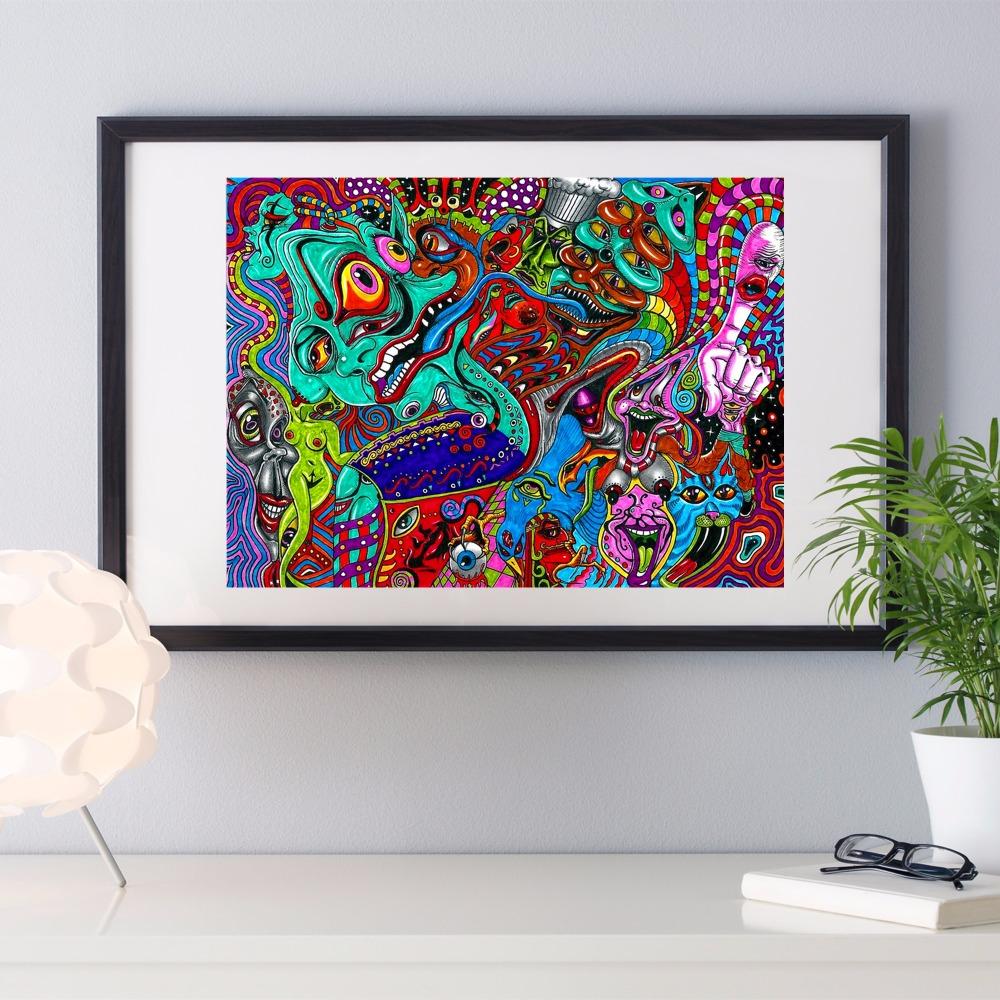 Psychedelic augen und mund leinwand kunstdruck malerei poster mauerbilder für zimmer dekoration wand dekor kein