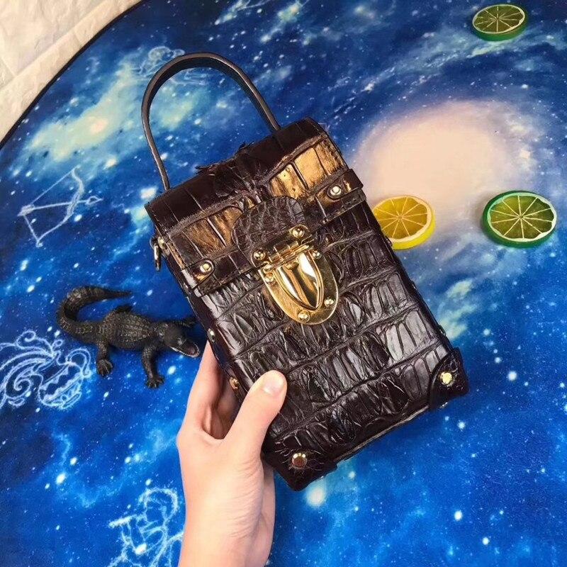 Luxury Designer Genuine Crocodile Alligator Leather Lady Mini Studs Box Handbag Female Phone Clutches Women Chain