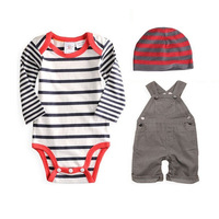 Hot Origina Baby Boy Clothing Set Baby Coat Pants Hat Sling Pants Tights Suit