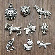 15pcs Tiger Charms Wolf Charms Pendants Jewelry Making Animal Lion Charms Antique Silver Color(China)