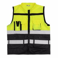 7 Pocket High Visibility Reflective Vest Construction Traffic Cycling Working Clothing Zipper Design Safety Vest Workwear