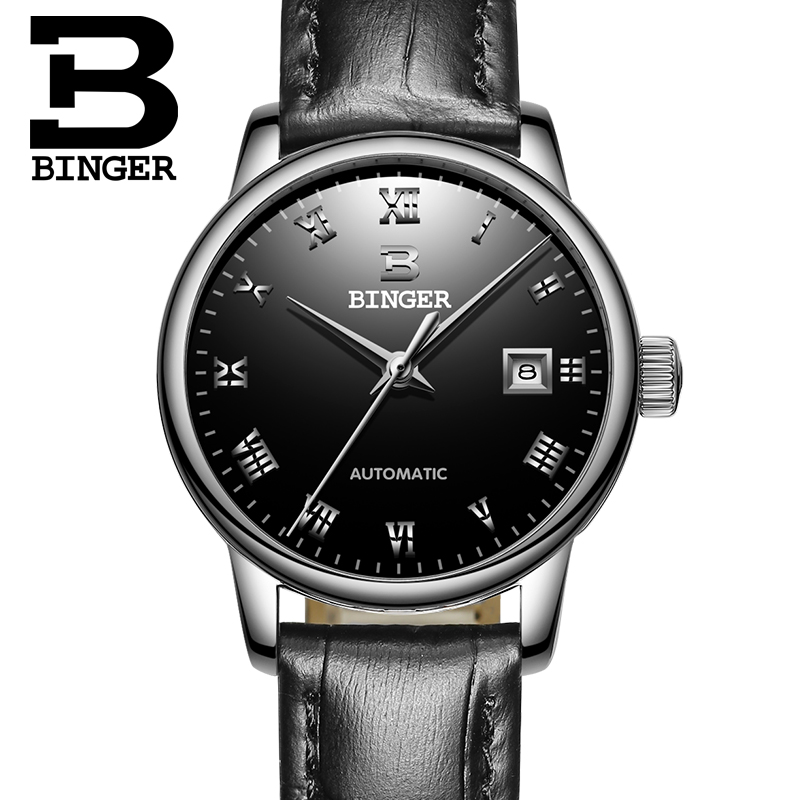 Switzerland Ladies Watch BINGER Luxury Brand Mechanical Wristwatches Sapphire Genuine Leather Strap Women s watches B