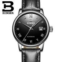 Switzerland Ladies Watch BINGER Luxury Brand Mechanical Wristwatches Sapphire Genuine Leather Strap Women's watches B 5005L 4