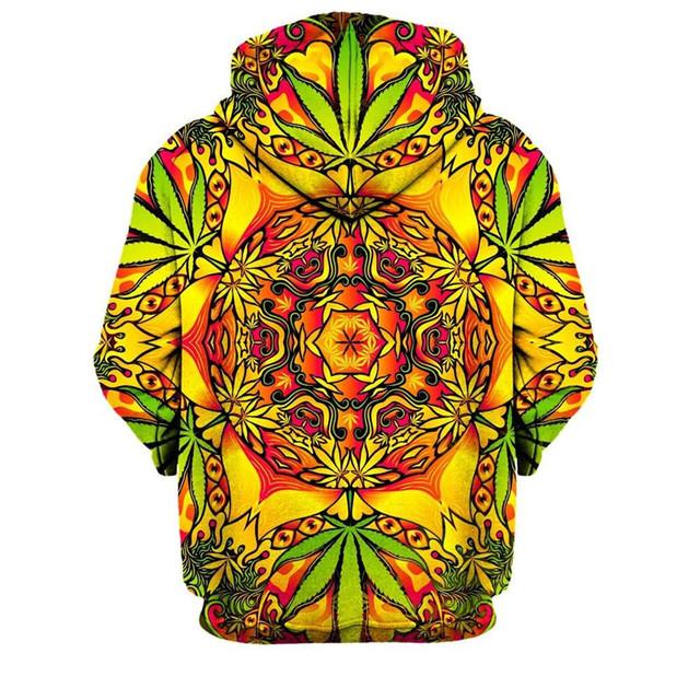 Psychedelic Weed 3D Hoodies Sweatshirts Men Women 2018 Spring Autumn Pullover Hoody Tops All Over Printed Hoodie Hooded 4XL