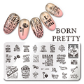 BORN PRETTY Rectangle Manicure Stamping Plate Letters Design 12*6cm Nail Art  Image Plate BP-L055
