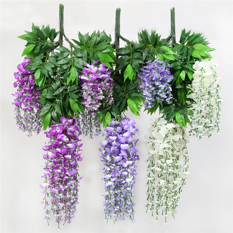 12pcslot 100cm silk wisteria artificial hanging flowers hanging 12pcslot 100cm silk wisteria artificial hanging flowers hanging fake watercress flower for wedding party home garden decoration in artificial dried mightylinksfo