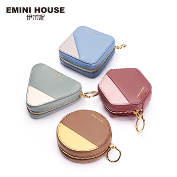 EMINI HOUSE Mini Coin Purse Women's Purse For Coins Split Leather Pouch Wallet For Girls Exquisite Design Zipper Clutch Bag Coin Purses & Holders