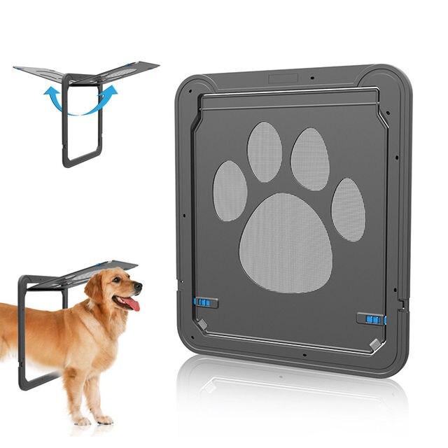Pet Screen Door Dog Cat Automatic Magnetic Lockable Flap Net Gate