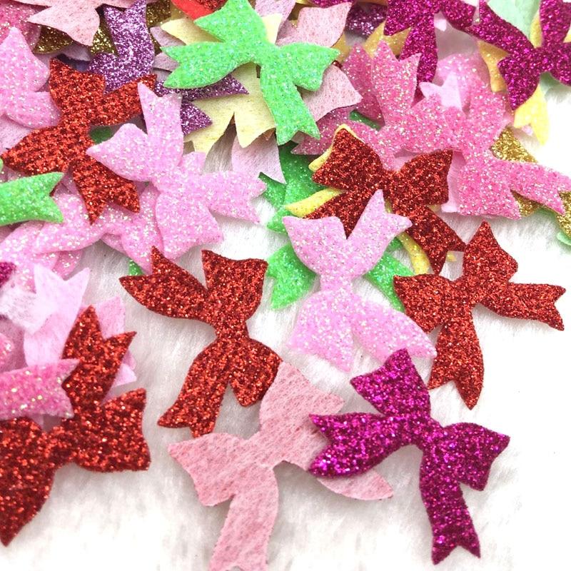 50pcs Padded dot fabric Bow sewingAppliquesbaby DIY craft Lots Mix B325