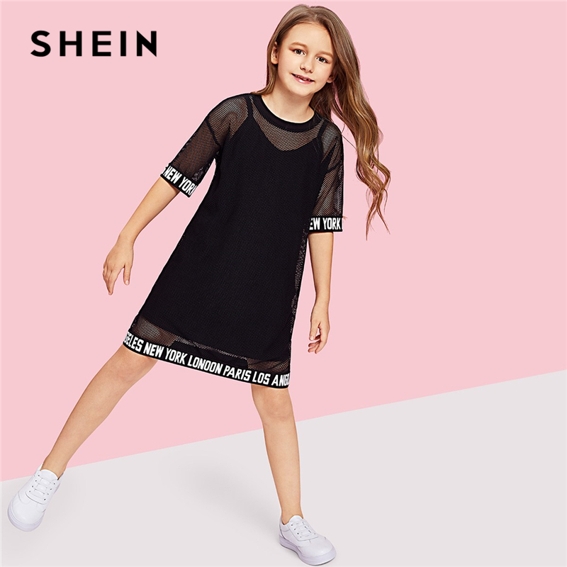 SHEIN Girls Letter Hem Mesh Sheer Casual Dress Girls Clothing 2019 Spring Korean Half Sleeve Straight Kids Dresses For Girls girl s lace formal dress 2017 autumn long sleeve gauze bow girls princess dresses kids party preppy style children s dress pink