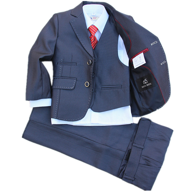 (Jackets+Vest+Pants+Tie+Cravat) Boy Suits Flower girl Slim Fit Tuxedo Brand Fashion Bridegroon Dress Wedding blue Suit Blazer2