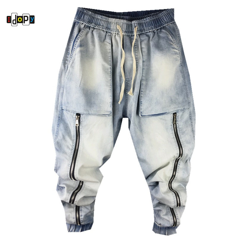 Idopy Harem Jeans Zippers Vintage Washed Drop Crotch Loose Fit Elastic Waist Drawstring Big Pockets Denim Joggers For Man